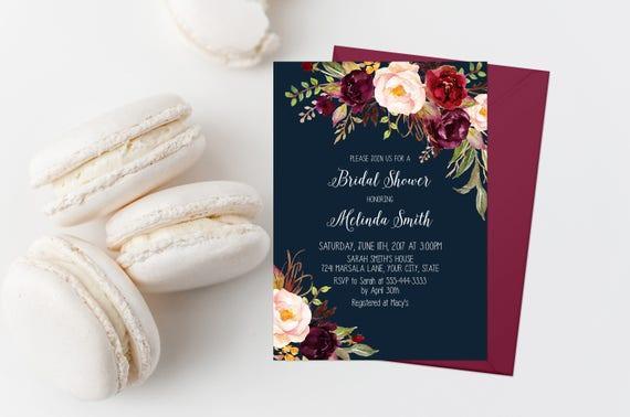 c4d9c3c4eb23 Burgundy Floral Bridal Shower Invitation Printable Navy and