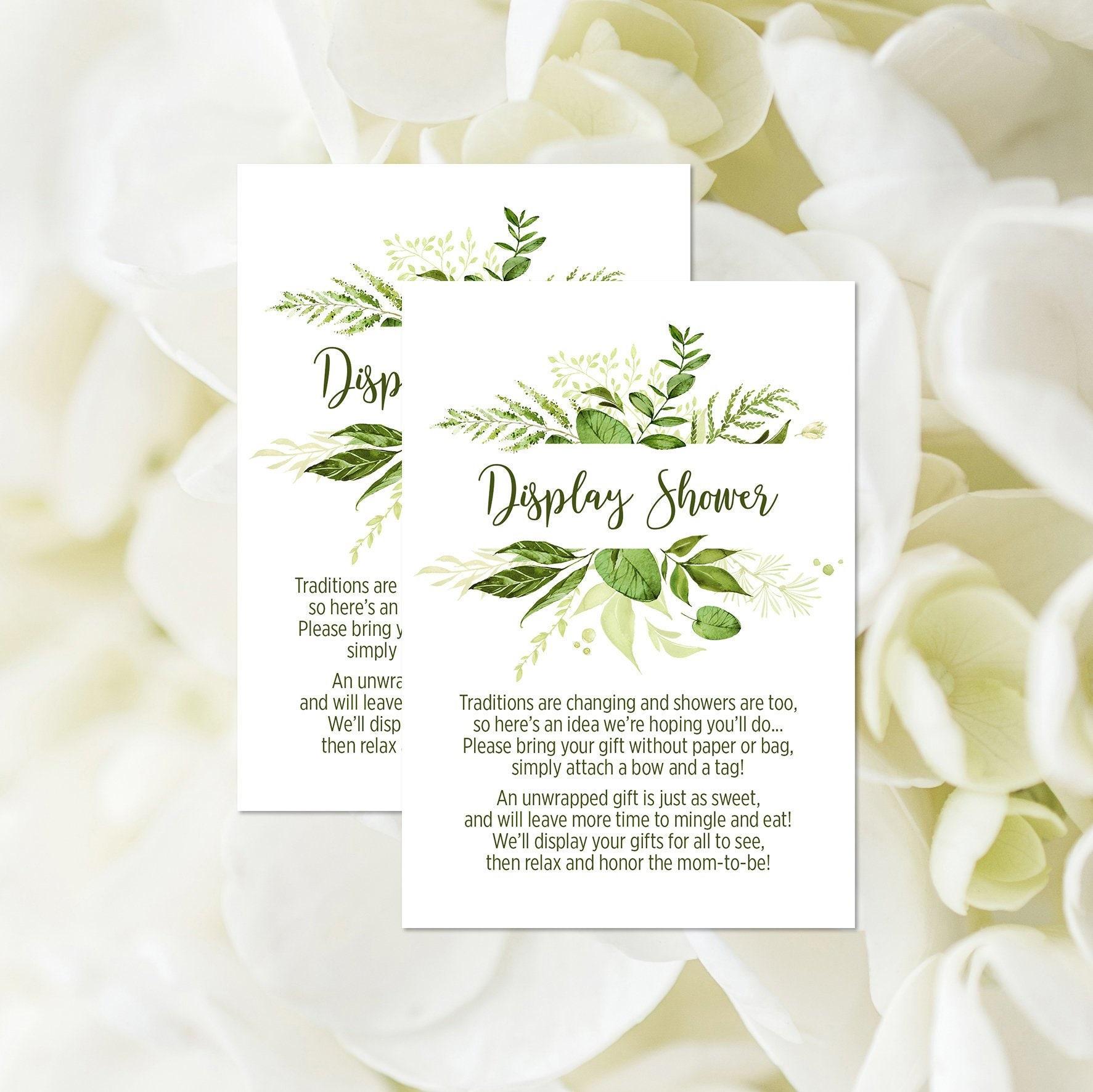 Display Baby Shower: Greenery Display Shower Card Printable Greenery Baby