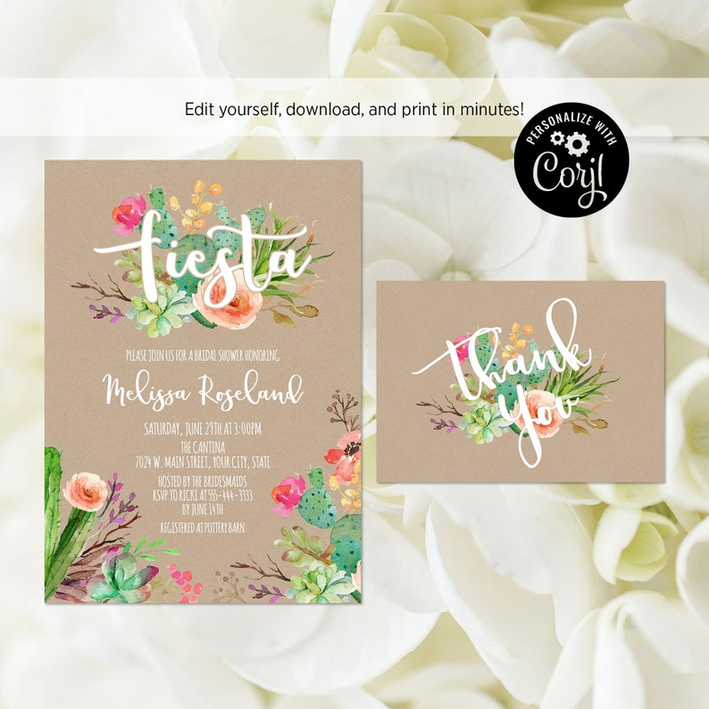491f8ed6b08f EDITABLE FILE Fiesta Bridal Shower Invitation and Thank You