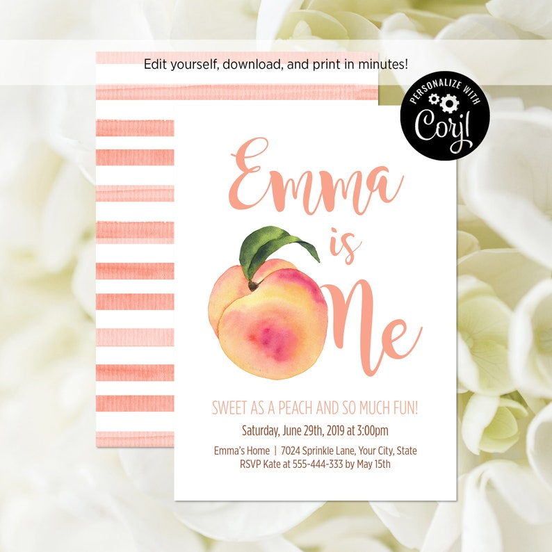 EDITABLE FILE Peach First Birthday Party Invitation Sweet As A image 0