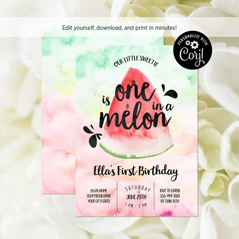 78e54cdfd EDITABLE FILE Watermelon First Birthday Party Invitation One | Etsy