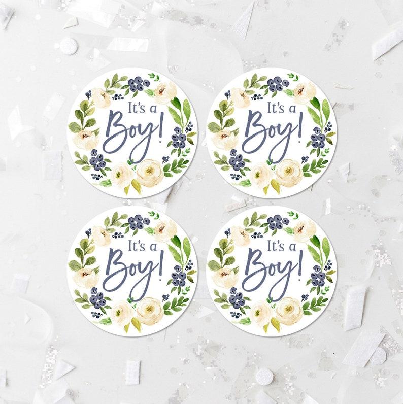 Favor Stickers Cupcake Toppers PRINTABLE It\u2019s A Boy Favor Tags Popcorn Labels Blue Floral Baby Shower Favor Labels Shower Decor 346