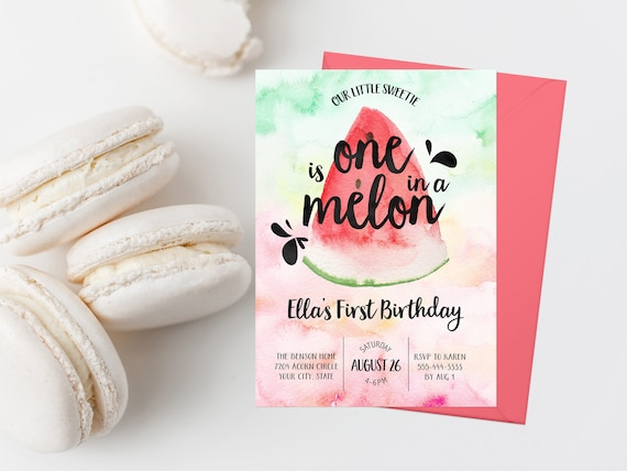 Watermelon First Birthday Party Invitation Printable One In A Etsy