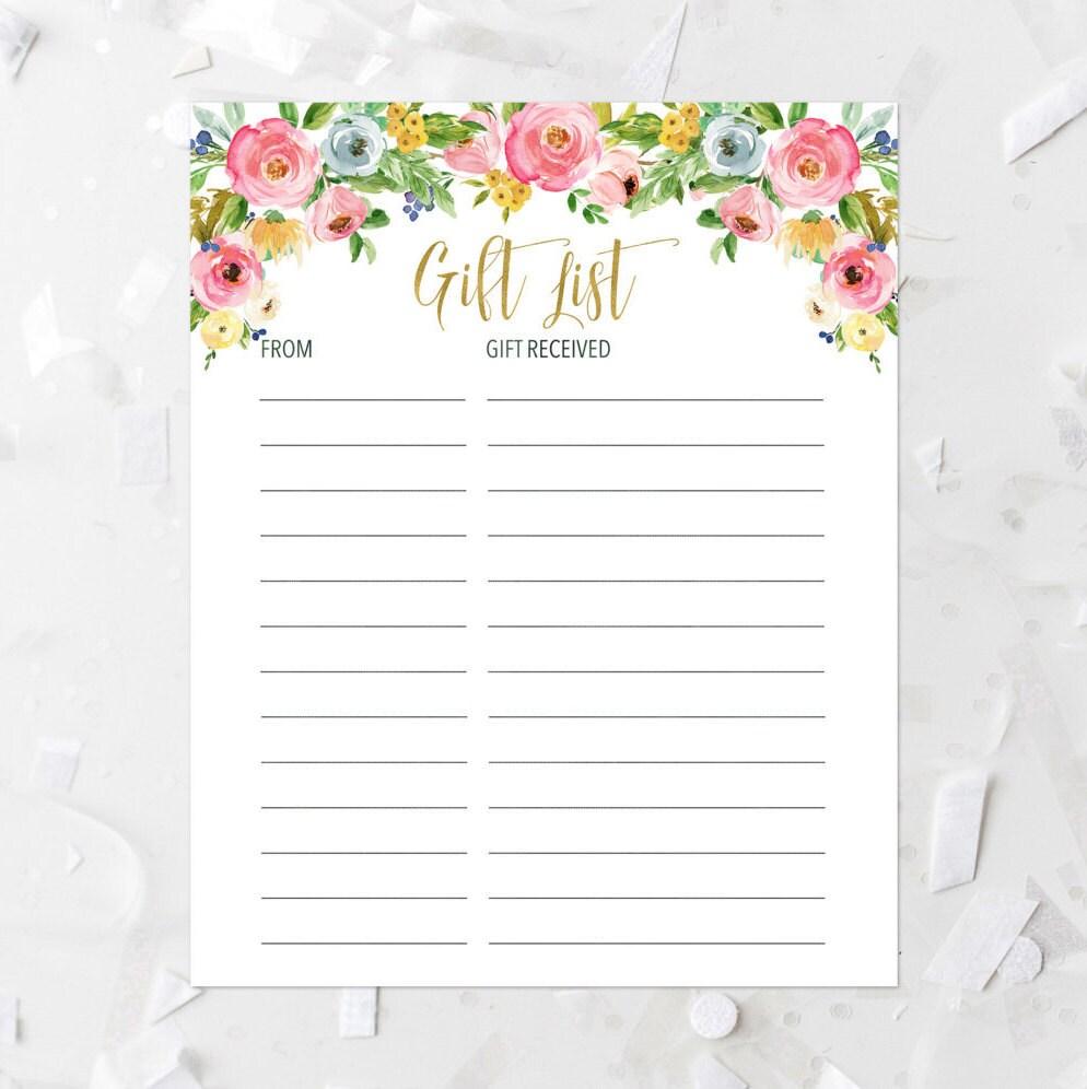 Floral Gift List Printable Pink Floral Gift List Baby Shower Etsy