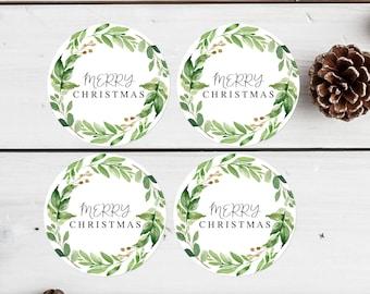 Green Foliage Christmas Tags Printable Greenery Merry Christmas Labels Christmas Gift Tags Christmas Favor Labels Christmas Stickers 276