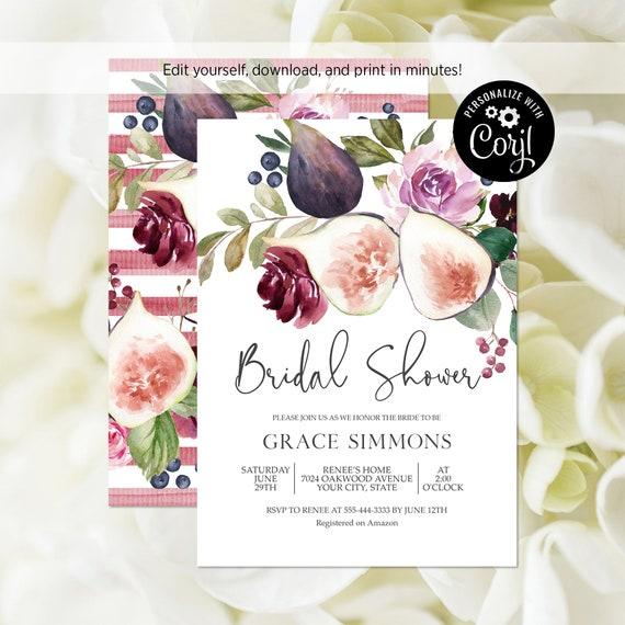 91d27f422ea5 EDITABLE FILE Fig and Burgundy Floral Bridal Shower Invitation