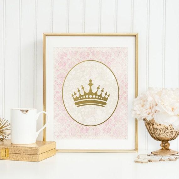 princess crown printable princess nursery decor crown wall art etsy