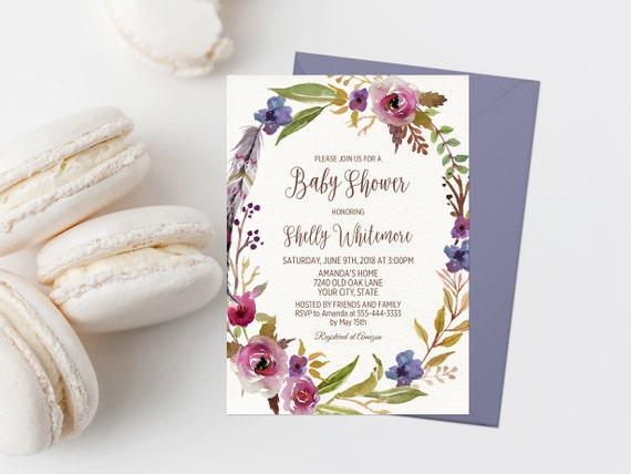 Bohemian baby shower invitation printable boho baby shower etsy image 0 filmwisefo