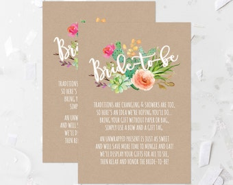 Succulent Display Shower Card Printable Cactus Bridal Shower Invitation Insert Card Fiesta Unwrapped Gifts Card No Gift Wrap Card 240