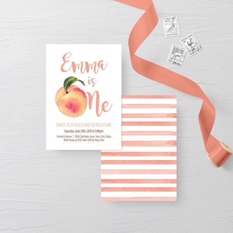 Peach First Birthday Party Invitation Editable Template image 0