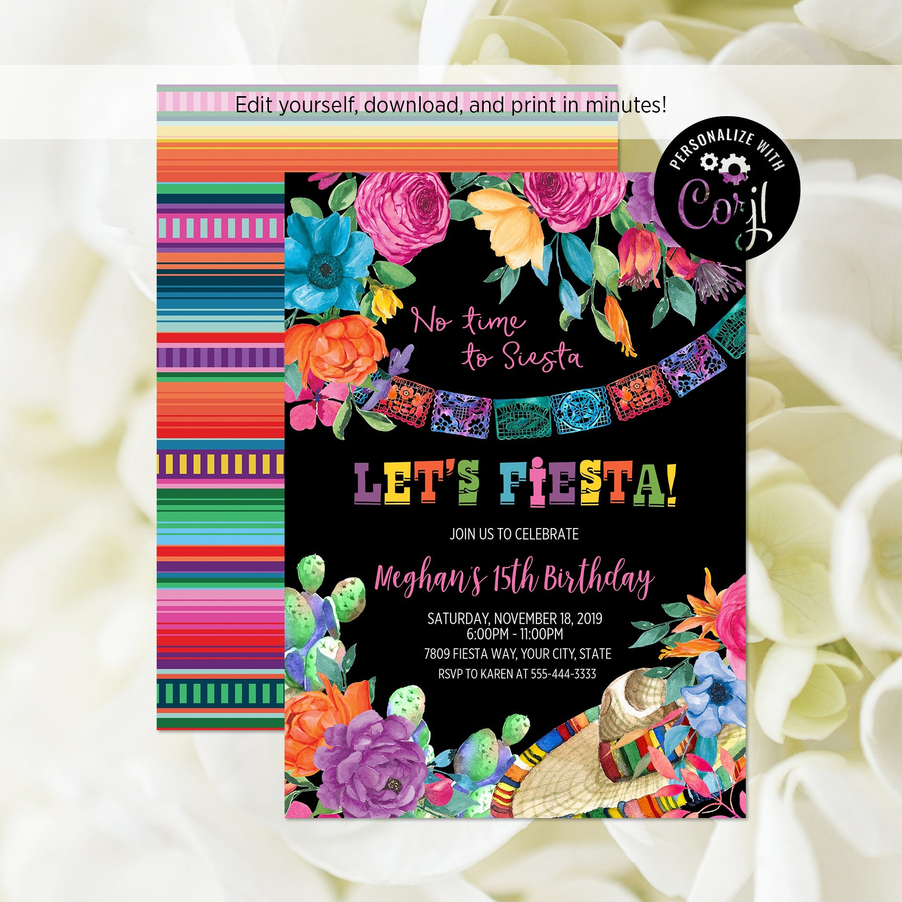 Editable File Fiesta Birthday Party Invitation Let S Fiesta Invitation Mexican Floral Birthday Invite Mexican Theme Corjl Template 353