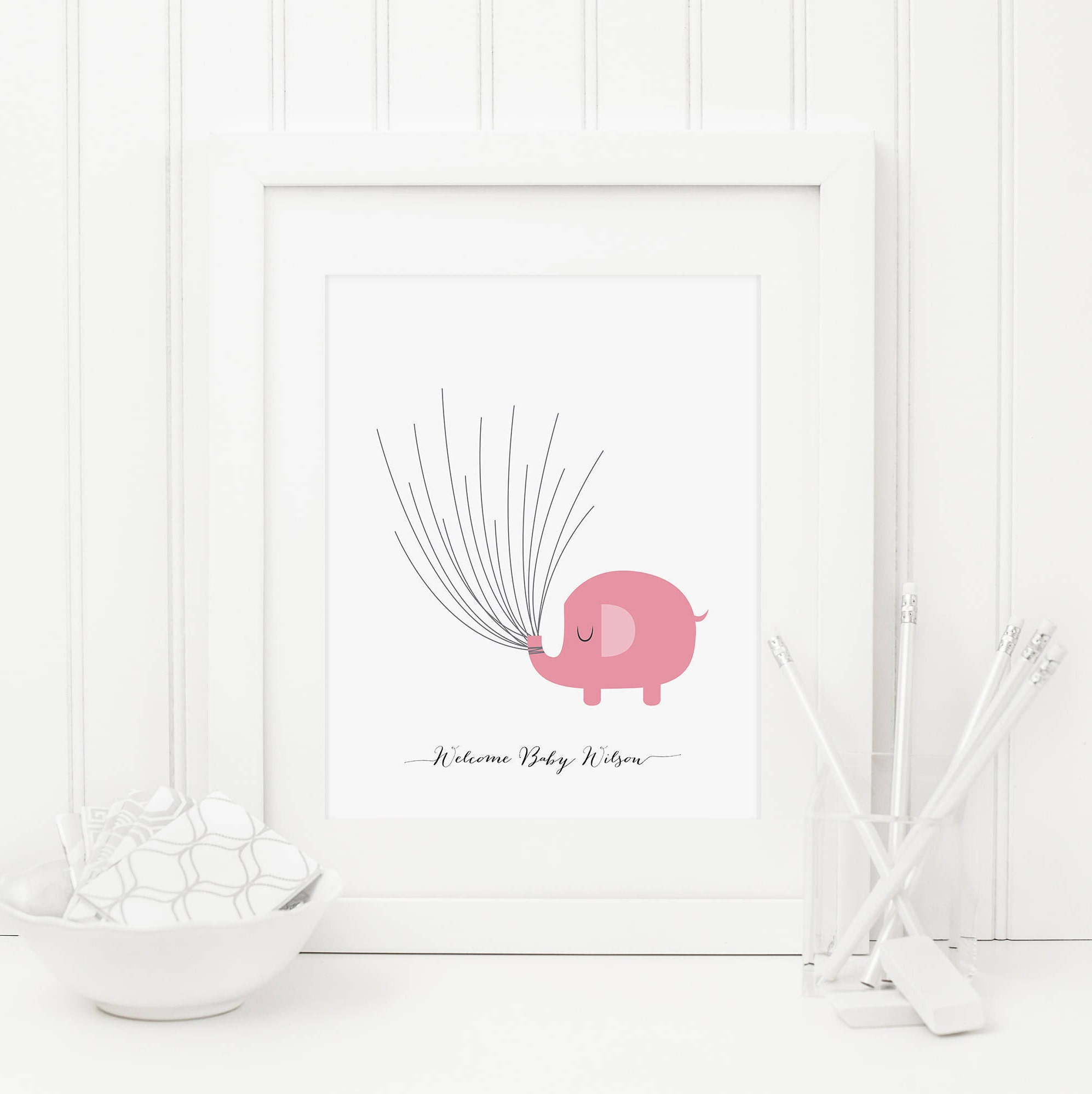 Baby Shower Fingerprint Printable Custom Name Pink Elephant Etsy