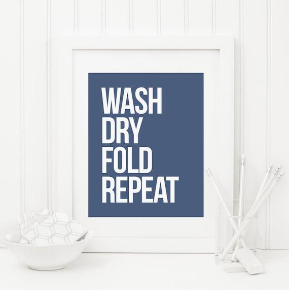 9a08e74cb8b8 Laundry Printable Navy Laundry Sign Wash Dry Fold Repeat