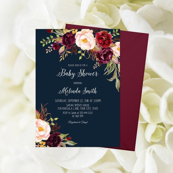 f28e35dba01c Bohemian Baby Shower Invitation Printable Burgundy Floral Baby