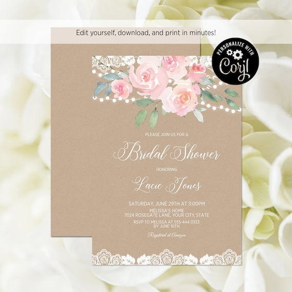 620731f0ccbd EDITABLE FILE Blush Floral Bridal Shower Invitation Printable