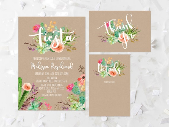 46c8bcb5d527 Fiesta Bridal Shower Invitation Printable Succulent Bridal