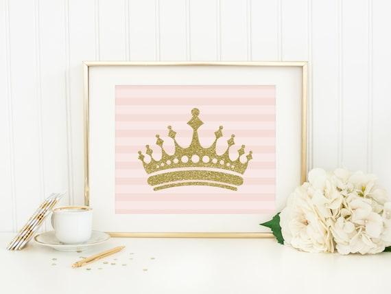 princess crown printable pink and gold nursery decor princess etsy
