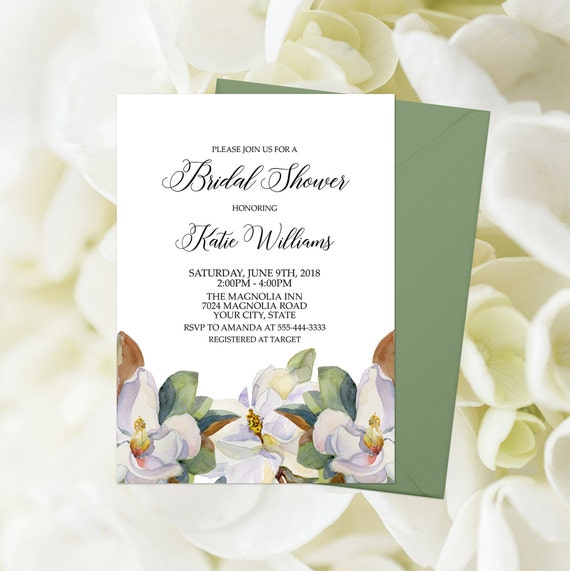 9342b6f1b578 Magnolia Bridal Shower Invitation Printable Magnolia Shower