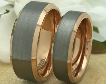 Two Tone His + Hers Tungsten Ring Set