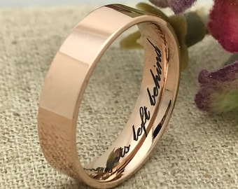Rose Gold Plated Stainless Steel Ring, Pipe Cut Ring, Skinny Ring