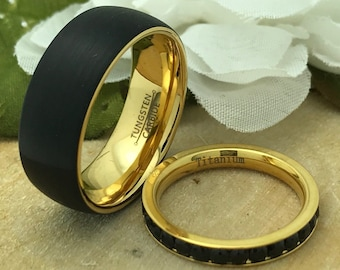 8mm/3mm His & Hers Tungsten + Titanium Wedding Ring Set, Personalized Gold IP Plated Tungsten Ring Set, Titanium Eternity Ring