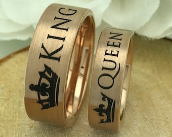 Rose Gold King + Queen Tungsten Ring Set