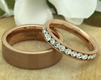 8mm/3mm Rose Gold Eternity Set