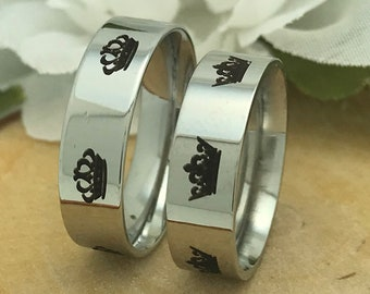 King and Queen Ring Set,Stainless Steel Matching Couples Ring Set,His and Her Ring Set,Wedding Ring for Him, Promise Rings,Anniversary Rings