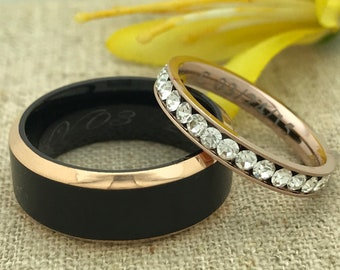 His & Hers Titanium Rings, Personalized Custom Promise Ring for Him and Her, Couple Promise Rings, Wedding Bands, Purity Ring DOJTRB211