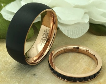 8mm/3mm His & Hers Tungsten AND Titanium Wedding Ring Set, Personalized Rose Gold Plated Tungsten Ring Set, Titanium Eternity Ring TCR656