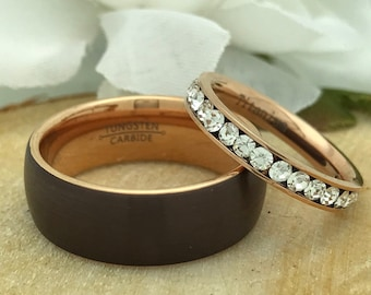 8mm/3mm Rose Gold Tungsten + Titanium Eternity Set
