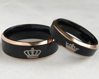 King + Queen Tungsten Ring Set