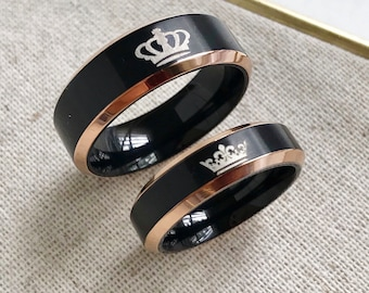 King + Queen Titanium Ring Set