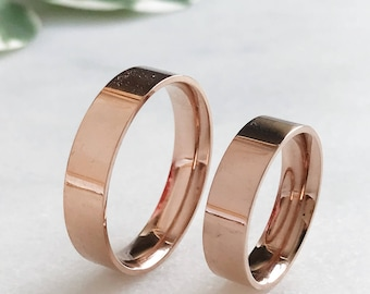 Rose Gold Plated His + Hers Pipe Cut Ring Set