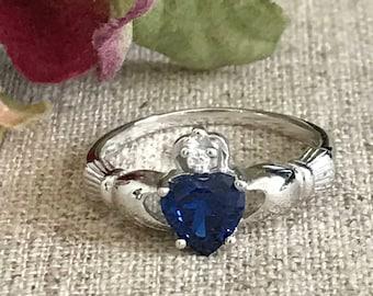 Claddagh Ring, Traditional Irish Claddagh Ring, Silver Claddagh Engagement Ring, Birthstone Claddagh Ring, Purity Ring