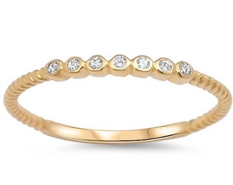 2mm Stackable Stacking Round Simulated Diamond CZ Wedding Band Ring,Gold plated 925 Sterling Silver,Dainty Ring,Skinny Ring