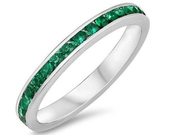 Eternity Band, Simulated Emerald Sterling Silver Stackable Ring Purity Ring Promise Ring- Wedding Band FREE ENGRAVING
