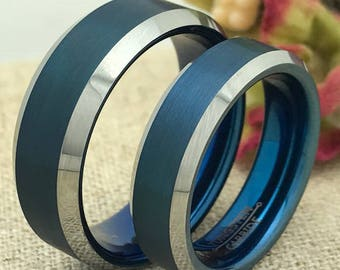 8mm/6mm Personalized Tungsten Rings, His and Hers Wedding Bands, Promise Rings, Couple Ring Sets, Bride and Groom Wedding Ring Set,