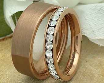 6mm/3mm Rose Gold Eternity Set