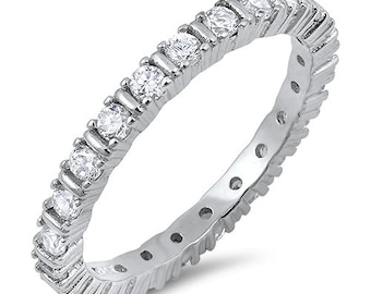 2mm Full Eternity Stackable Stacking Round Simulated Diamond CZ Wedding Band Ring 925 Sterling Silver