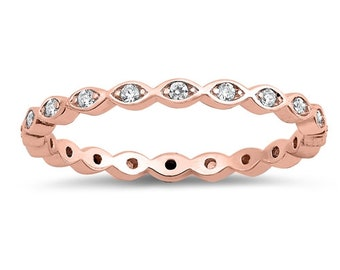 2mm Full Eternity Stackable Stacking Round Simulated Diamond CZ Wedding Band Ring. Rose Gold 925 Sterling Silver,Dainty Ring,Skinny Ring