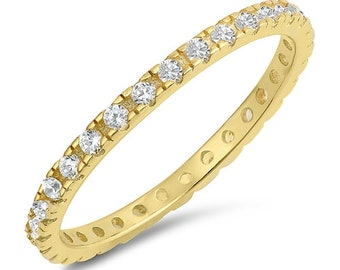 2mm Full Eternity Stackable Stacking Round Simulated Diamond CZ Wedding Band Ring,Gold plated 925 Sterling Silver,Dainty Ring,Skinny Ring