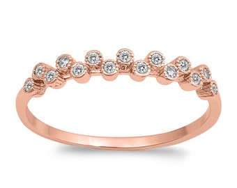 3mm Semi Eternity Stackable Stacking Round Simulated Diamond CZ Wedding Band Ring. Rose Gold 925 Sterling Silver,Dainty Ring,Skinny Ring