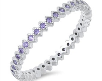 2mm Full Eternity Round Amethyst Wedding Band Ring Alternating Amethyst CZ Simulated Diamond 925 Sterling Silver free shipping