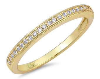 2mm Semi Eternity Stackable Stacking Round Simulated Diamond CZ Wedding Band Ring,Gold plated 925 Sterling Silver,Dainty Ring,Skinny Ring