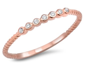2mm Semi Eternity Stackable Stacking Round Simulated Diamond CZ Wedding Band Ring. Rose Gold 925 Sterling Silver,Dainty Ring,Skinny Ring