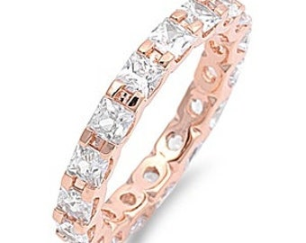 3mm Full Eternity Stackable Stacking Simulated Diamond CZ Wedding Band Ring. Rose Gold 925 Sterling Silver,Dainty Ring,Skinny Ring