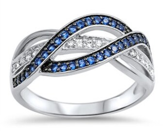 Criss Cross Blue Sapphire and Diamond CZ Eternity Ring,Sterling Silver Simulated Blue Sapphire Diamond CZ Wedding Band Eternity Ring