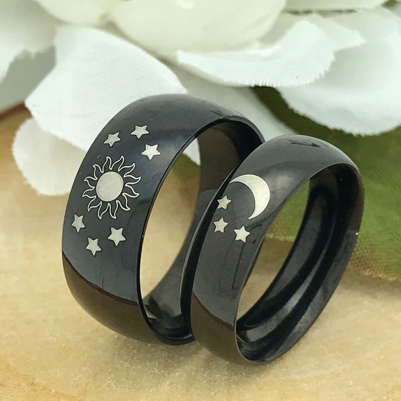 His & Hers Black Tungsten Wedding Rings Moon Sun and Star image 0