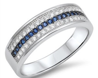 Sapphire and Diamond CZ Eternity Ring,Sterling Silver Simulated Blue Sapphire Diamond CZ Wedding Band Eternity Ring